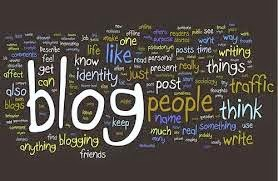 "The word ""blog"" prominent in a multicolored word cloud"