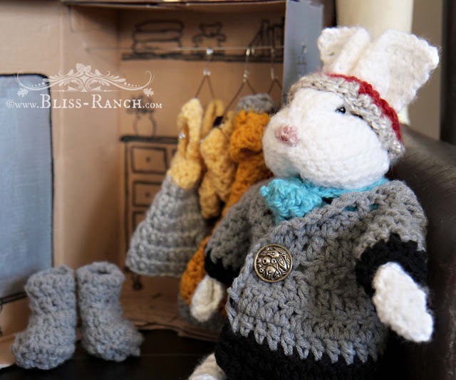 Hand Made Crochet Bunny with Clothes, Bliss-Ranch.com