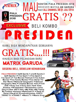 Receiver Matrix Garuda Piala Presiden 2018 Gratis Paket All Channel