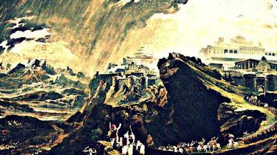 Descrierea grafică a evenimentului miraculos din Cartea lui Iosua, când soarele a stat în loc - imagine de John Martin, sursa WIkipedia