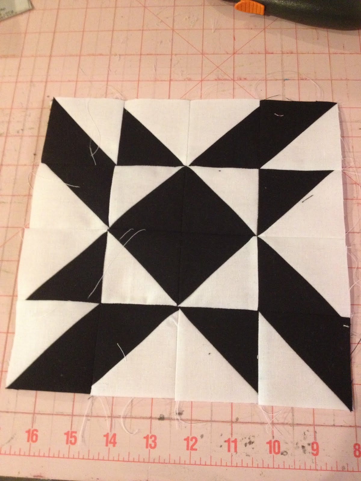 Knit N Lit Modern Half Square Triangle Quilt A Long Block 15