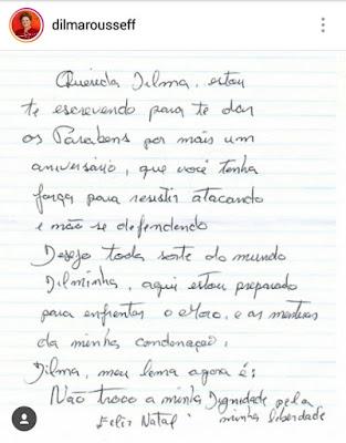 Print da carta de Lula para Dilma