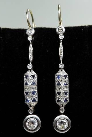 Art Deco Diamond Shire Dangle Earrings