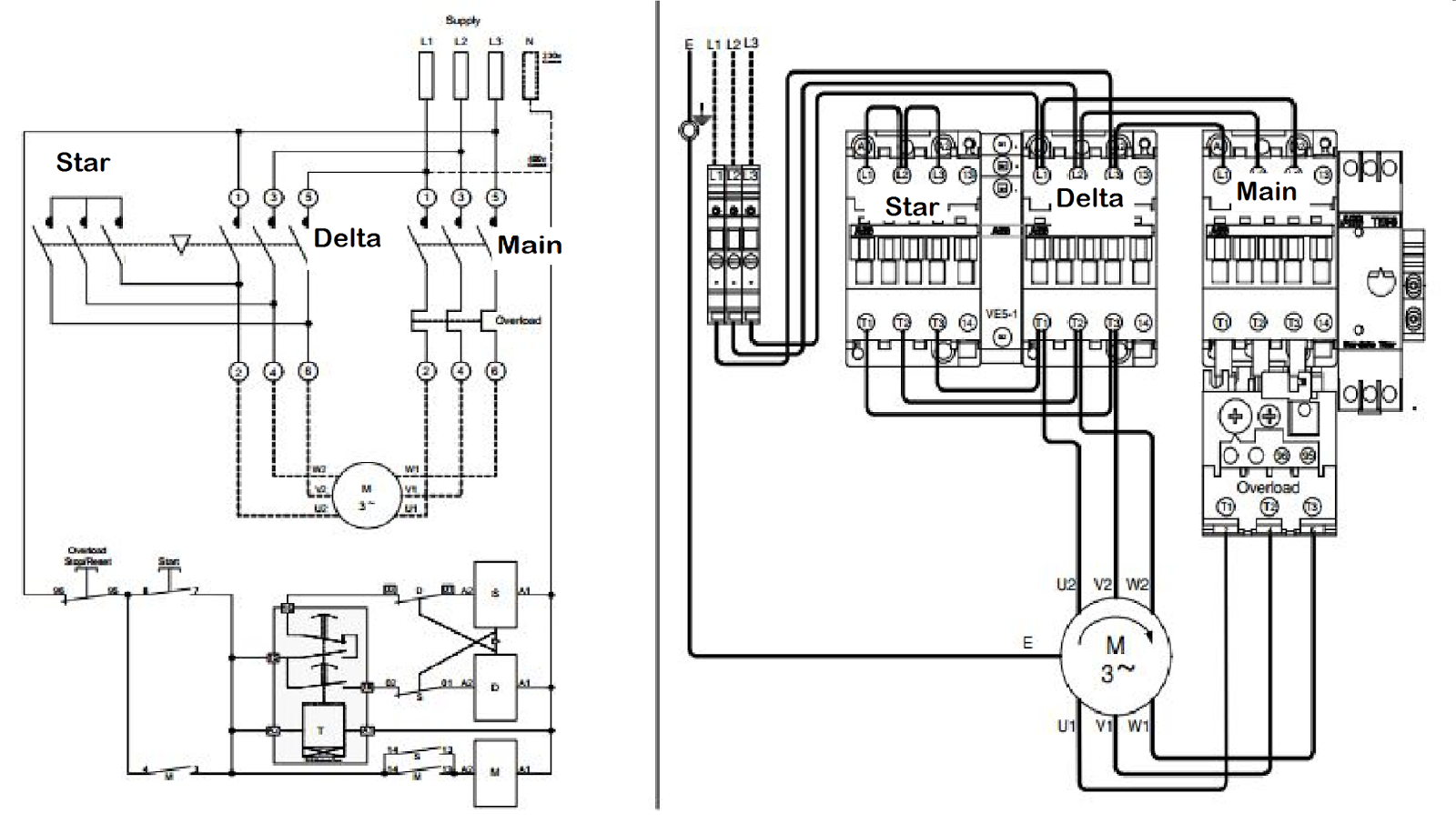 star delta starter motor control with circuit diagram in