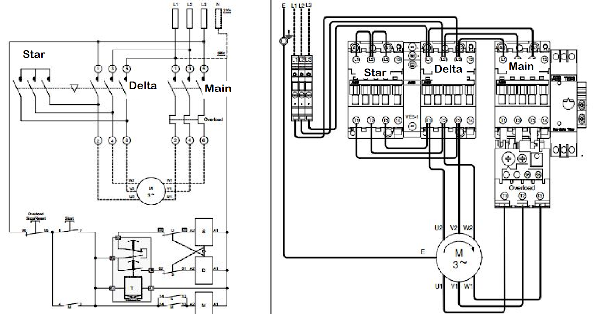 Wiring Diagram For Star Delta Motor Starter : Star delta starter line diagram and its working principle