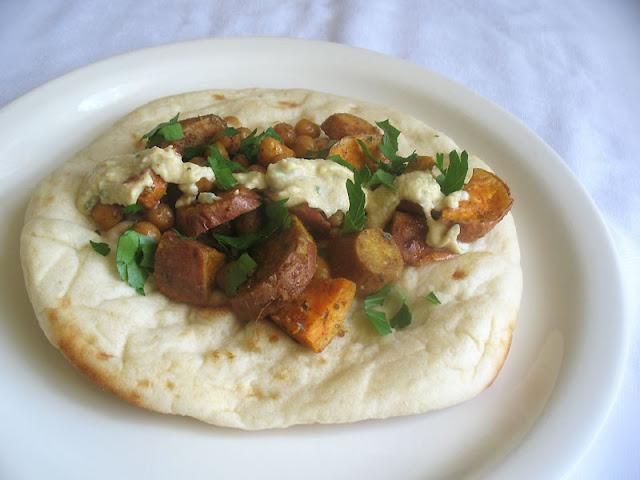Vegetarian Sweet Potato Wraps with Crispy Chickpeas