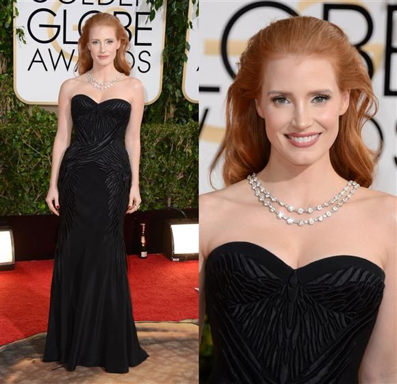 Jessica Chastain In Givenchy & BVLGARI necklace - 2014 Golden Globe Awards
