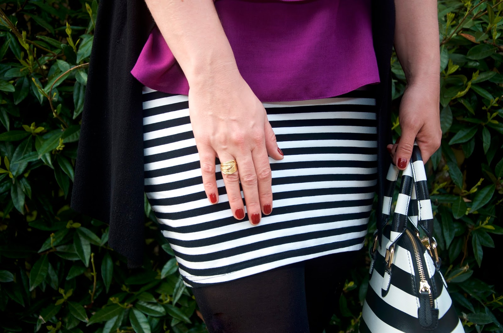 gold leaf ring, striped skirt