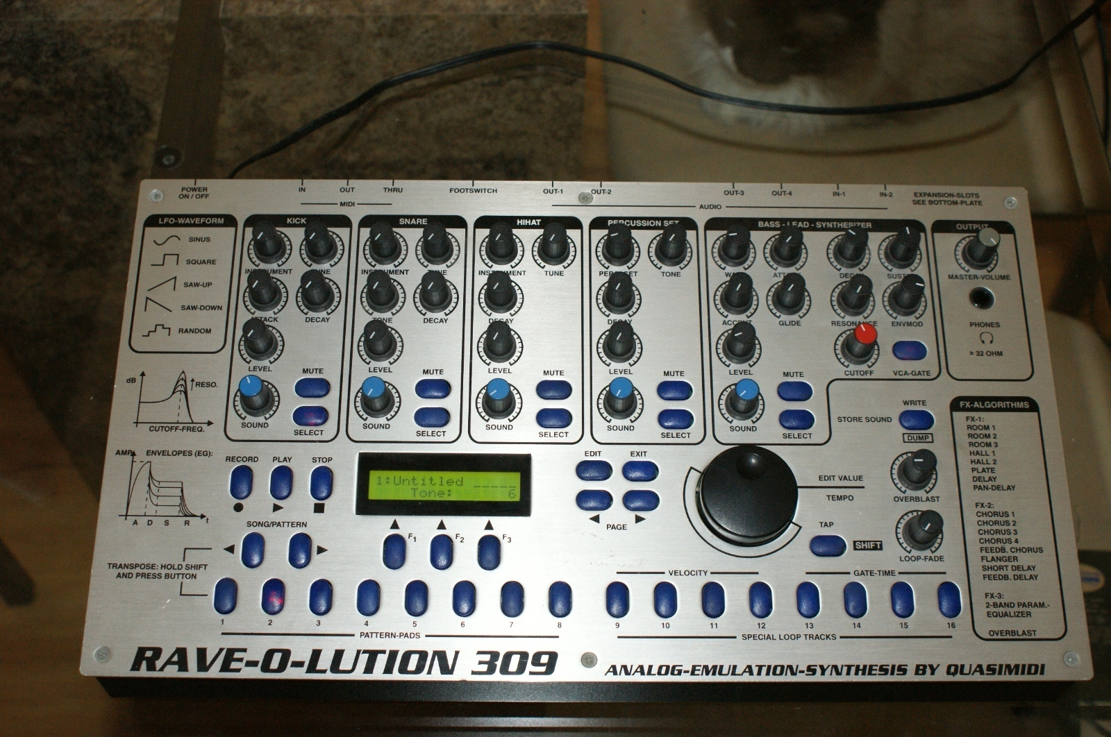 matrixsynth quasimidi rave o lution 309 synth drum machine with drum x expansion. Black Bedroom Furniture Sets. Home Design Ideas