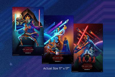 Disney Movie Rewards Exclusive Star Wars The Last Jedi Movie Posters by Kaz Oomori