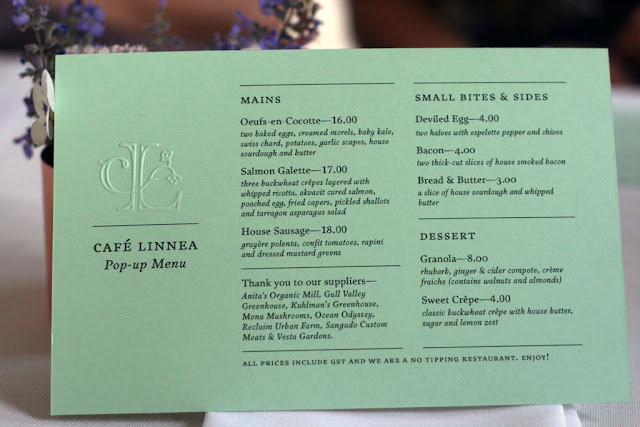 picture of the Cafe Linnea pop-up menu