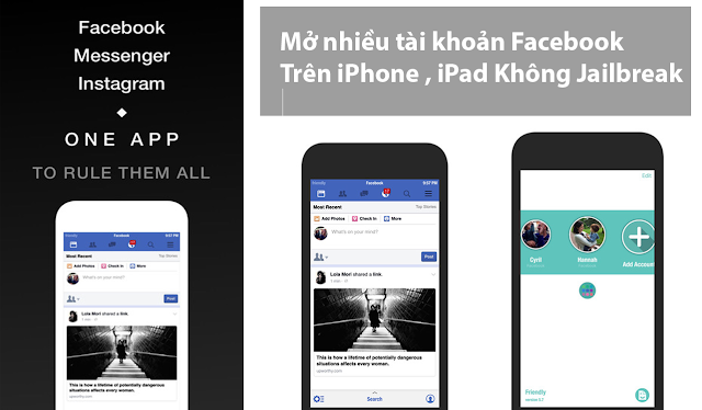 Mở nhiều tài khoản Facebook, Instagram trên iPhone, iPad