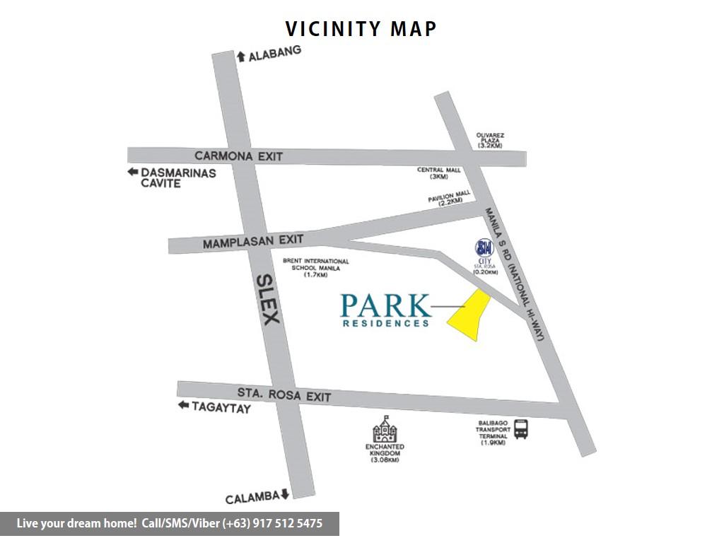 Vicinity Map - SMDC Park Residences - 1 Bedroom Unit | Condominium for Sale Santa Rosa Laguna