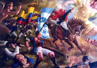 Dibujo de la Batalla de Pichincha en plena lucha