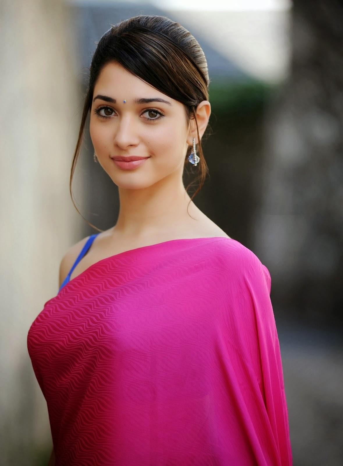 Tamanna Latest: Actress Tamanna In Pink Saree & Sleeveless Blouse