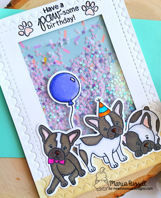 French Bulldog Birthday Shaker Card by Maria Russell | Fabulous Frenchies Stamp Set by Newton's Nook Designs #newtonsnook #handmade