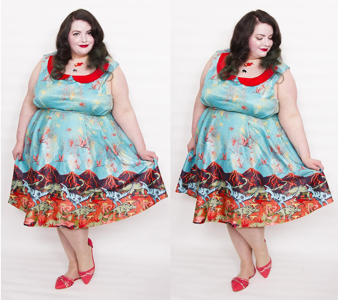 4826d59610b36 Dress: Sorrell Volcano and Dinosaur Print Swing Dress from Lindy Bop (£38)