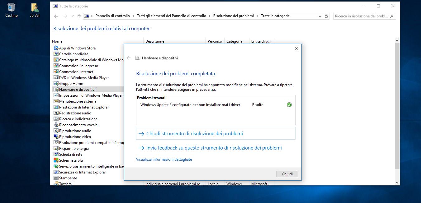 Strumenti per la Risoluzione dei problemi in Windows 10 4