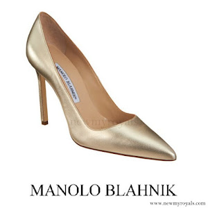 Crown Princess Mary wore Manolo Blahnik Metallic BB Shoes