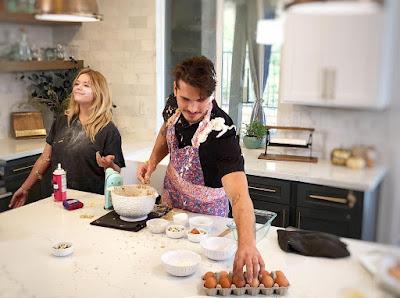 Gleb Savchenko making mess baking in DWTS partner Sasha Pieterse's kitchen