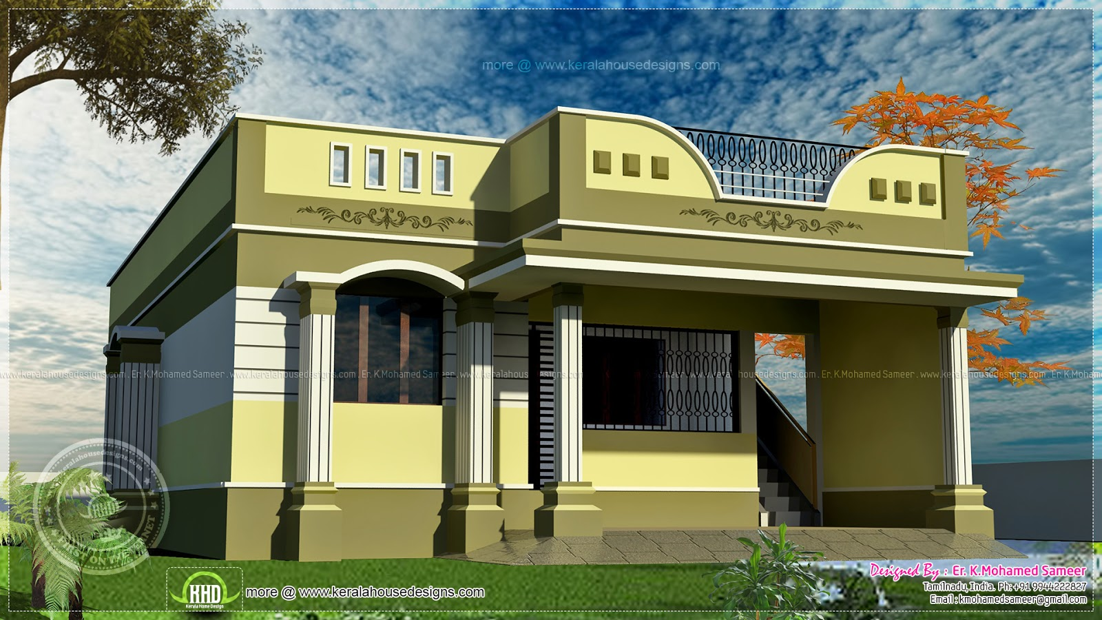 100 square meter one floor house design kerala home for Indian house portico models