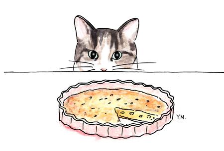 Cat and a quiche by Yukié Matsushita
