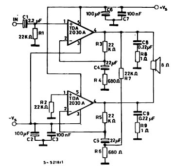 TDA2030 bridge 35 watt power amplifier circuit and