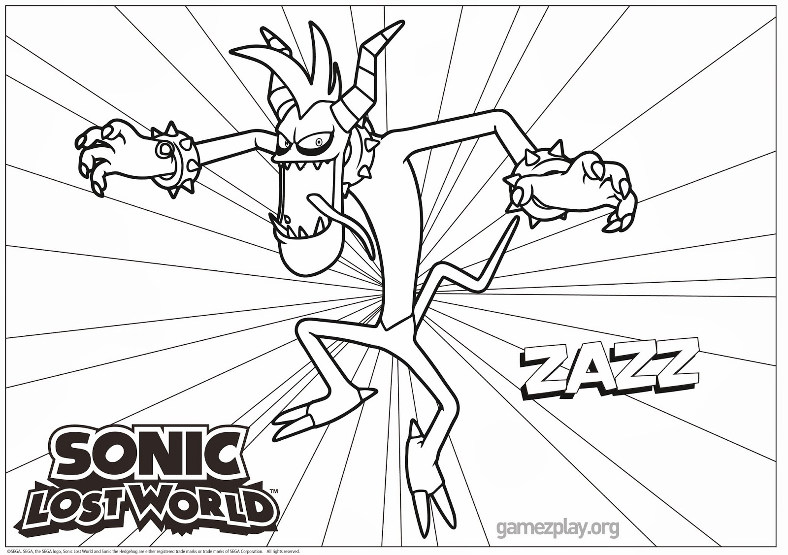 Sonic lost world coloring pages print