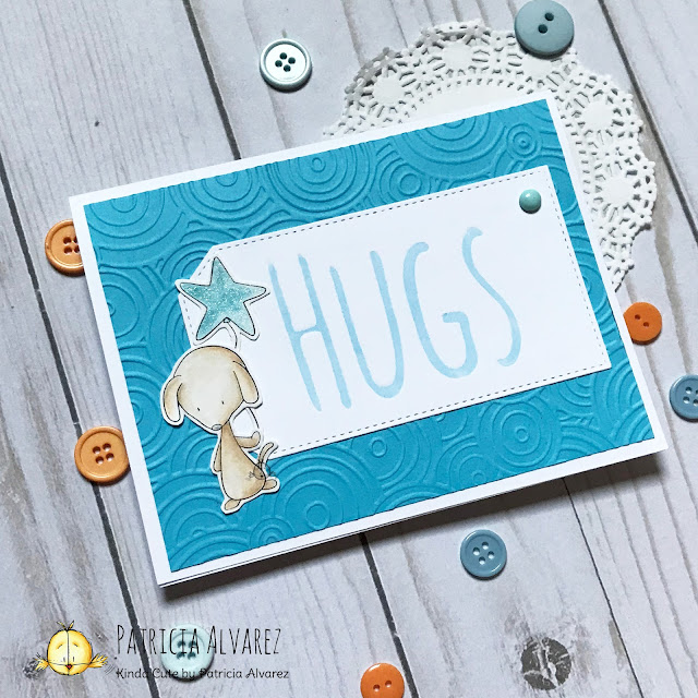 hugs card using dog digital stamp