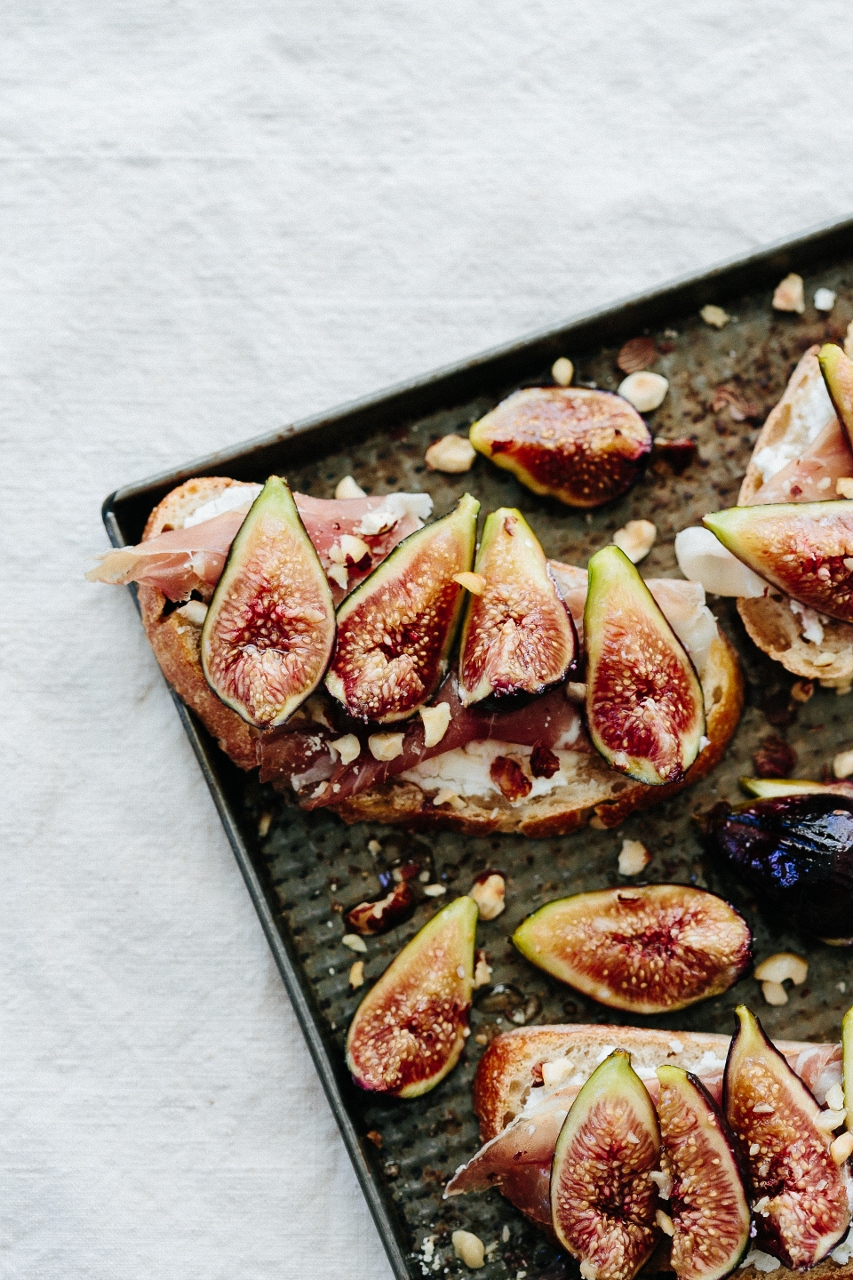 Honey roasted figs with goat cheese and Serrano ham on sourdough toast