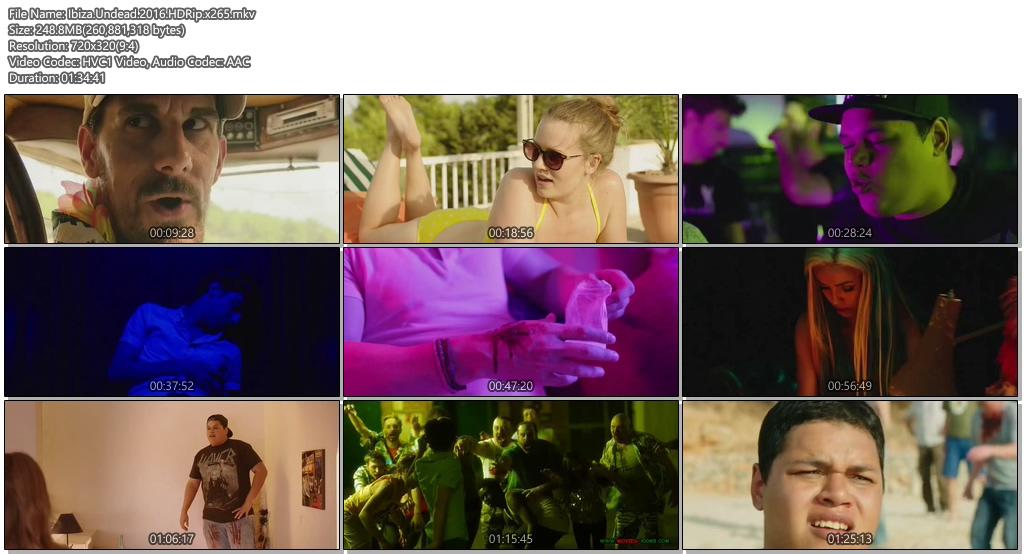 Ibiza Undead 2016 HDRip 480p 250MB x265 Movie Screenshots