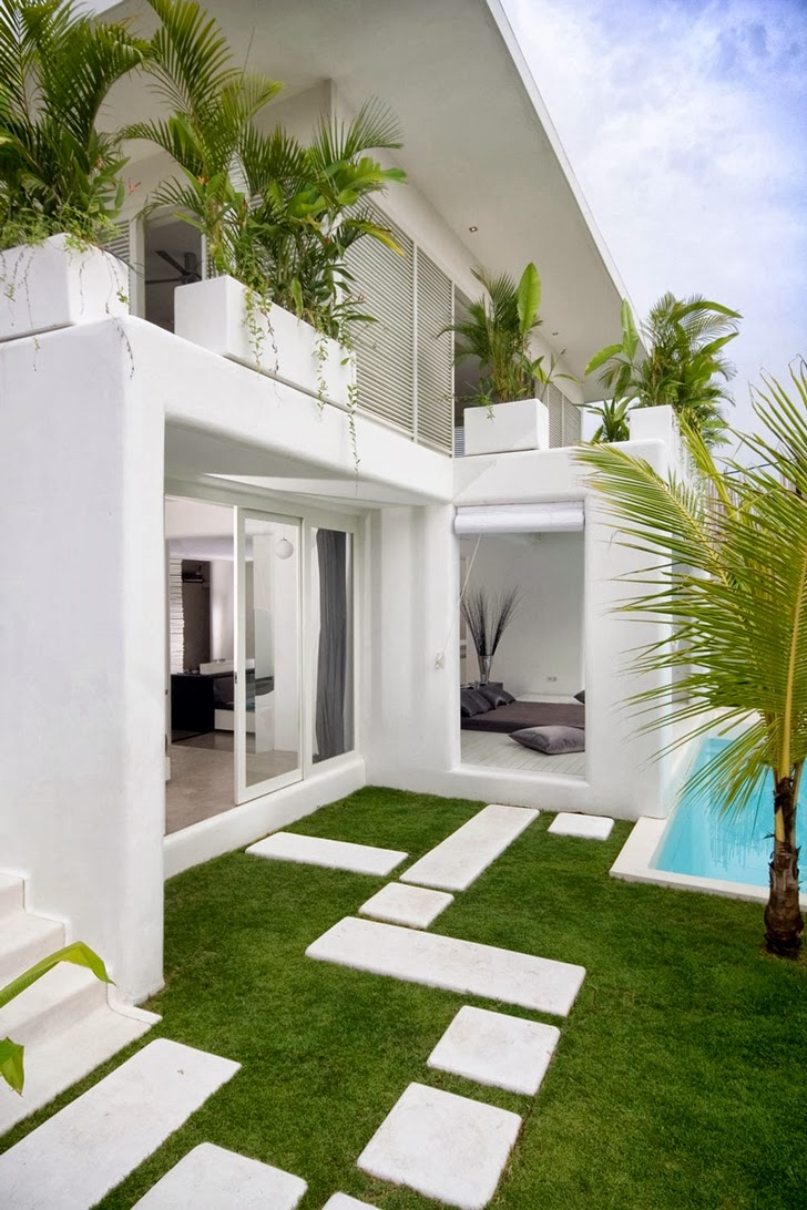 White facade on Exotic contemporary style house in Bali