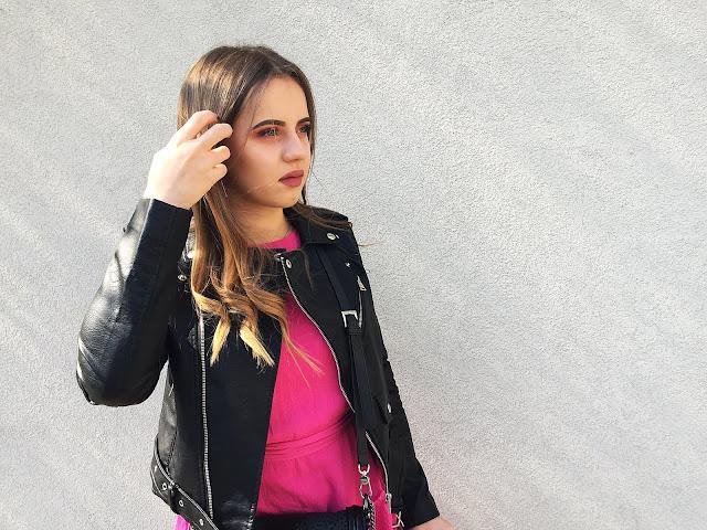 Black jacket & pink dress