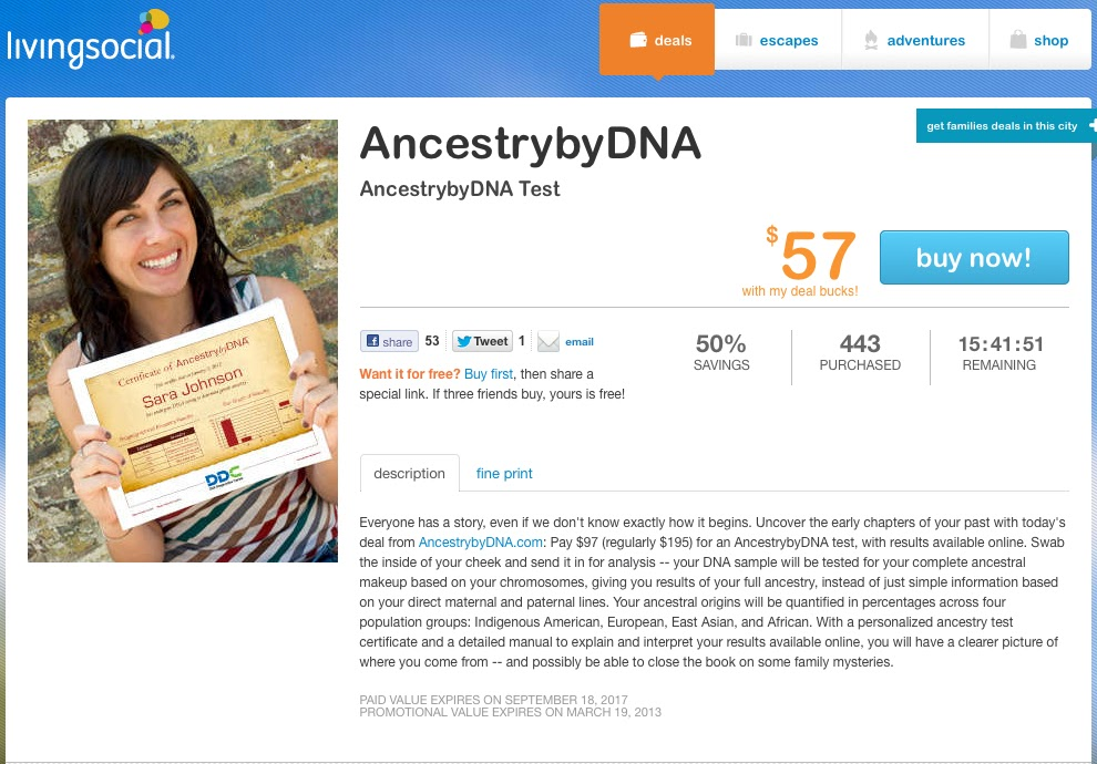 Your Genetic Genealogist: LivingSocial's AncestrybyDNA Offer