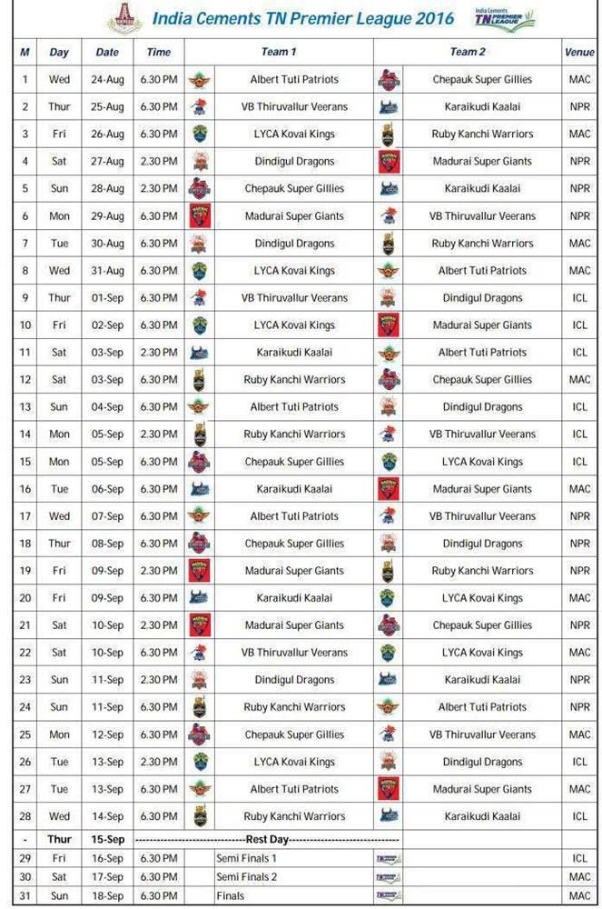 TNPL Tamil Nadu Premier League 2016 schedule, timetable and fixtures, venue, time