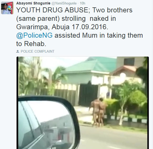 Police say two naked men seen in Abuja were high on drugs