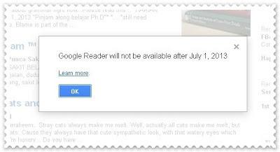 Google Reader Bakal Ditamatkan Perkhidmatan Selepas 1hb Julai 2013