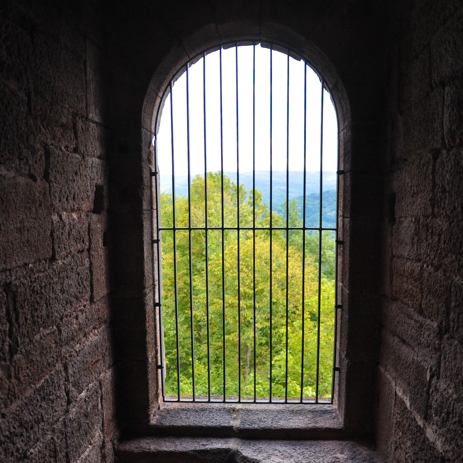The view from a window of the Yburg Castle tower, Yburg, Germany