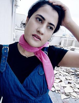 Zara Top, denim Dress,pink Scarf , indian style blogger
