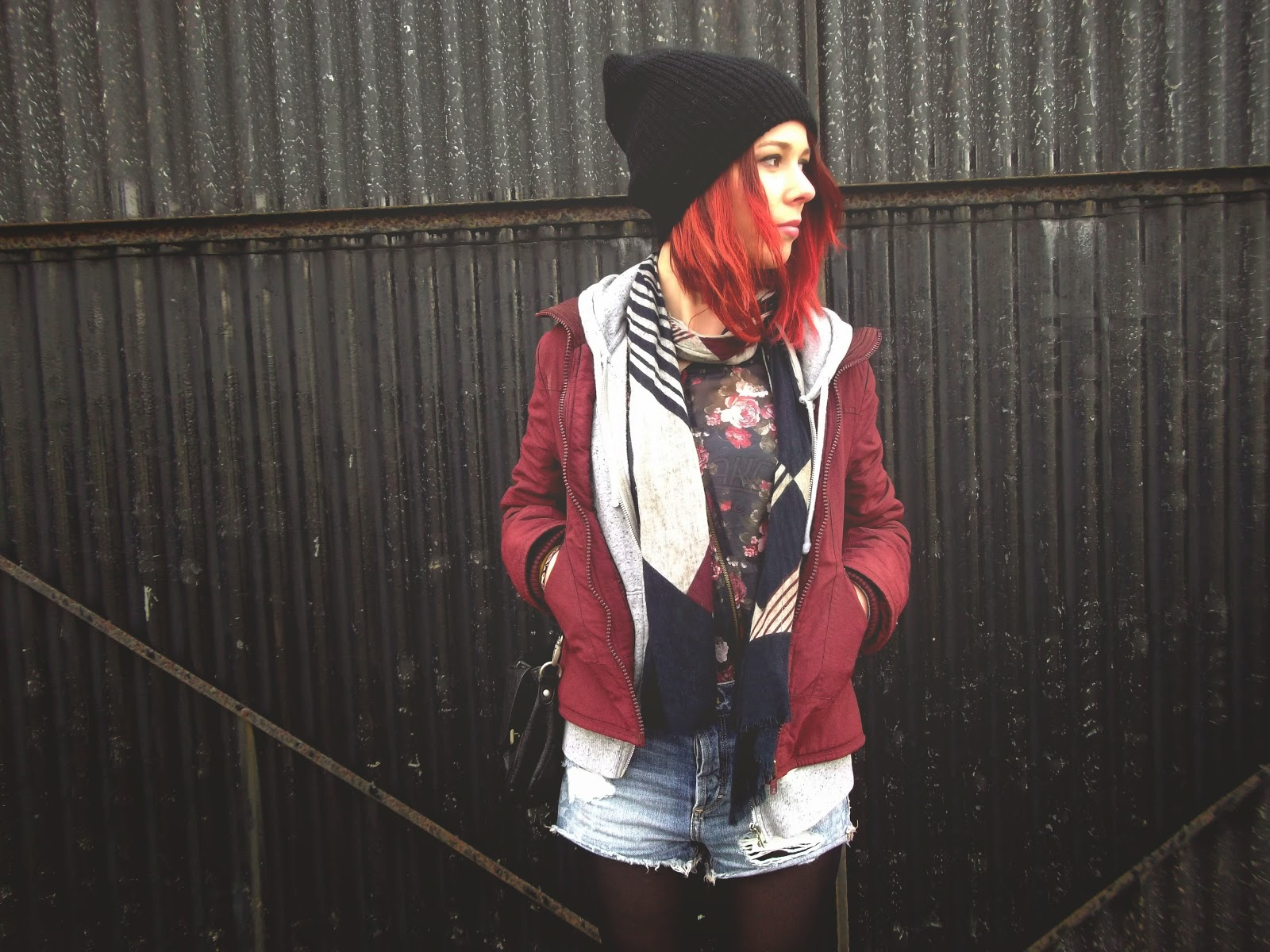 beanie, urbanoutfiters, short taille haute,blog, youtube, ootd, outfits, H&M, kimono, fleure, Sac, cartable, navy, harrington, enjoyk,