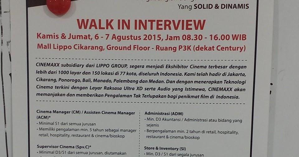 Lowongan Kerja Lowongan Kerja Walk In Interview Cinemaxx