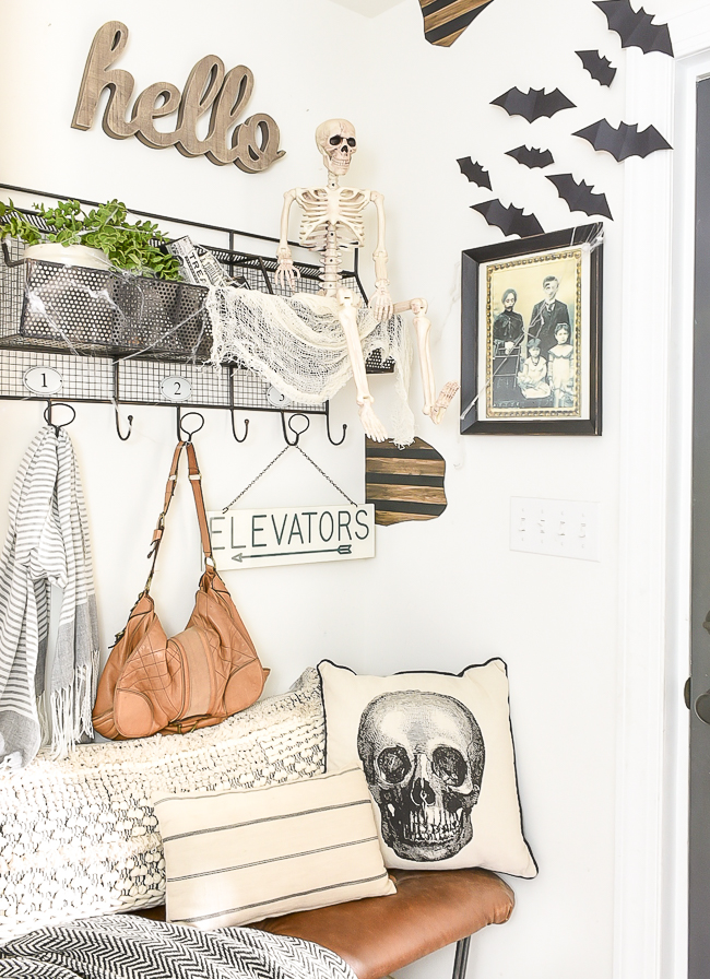 Creating a spooky halloween mudroom for less