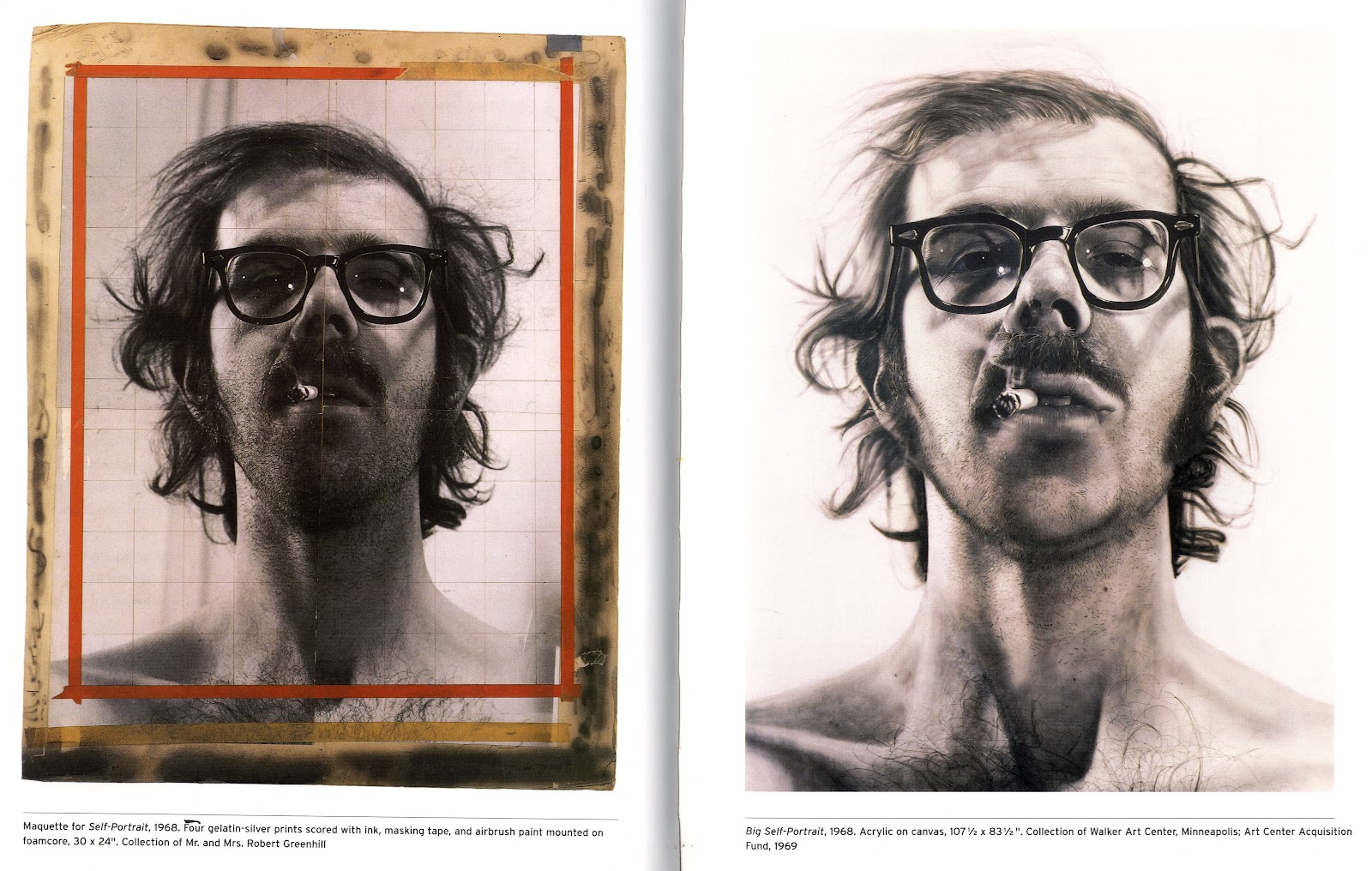 Left four gelatin silver prints scored with ink masking tape and airbrush paint mounted on foamcore right big self portrait 1968