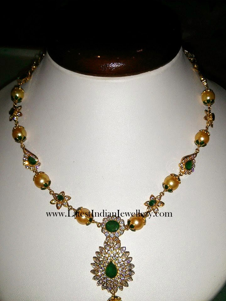 CZ Emerald Gold Necklace