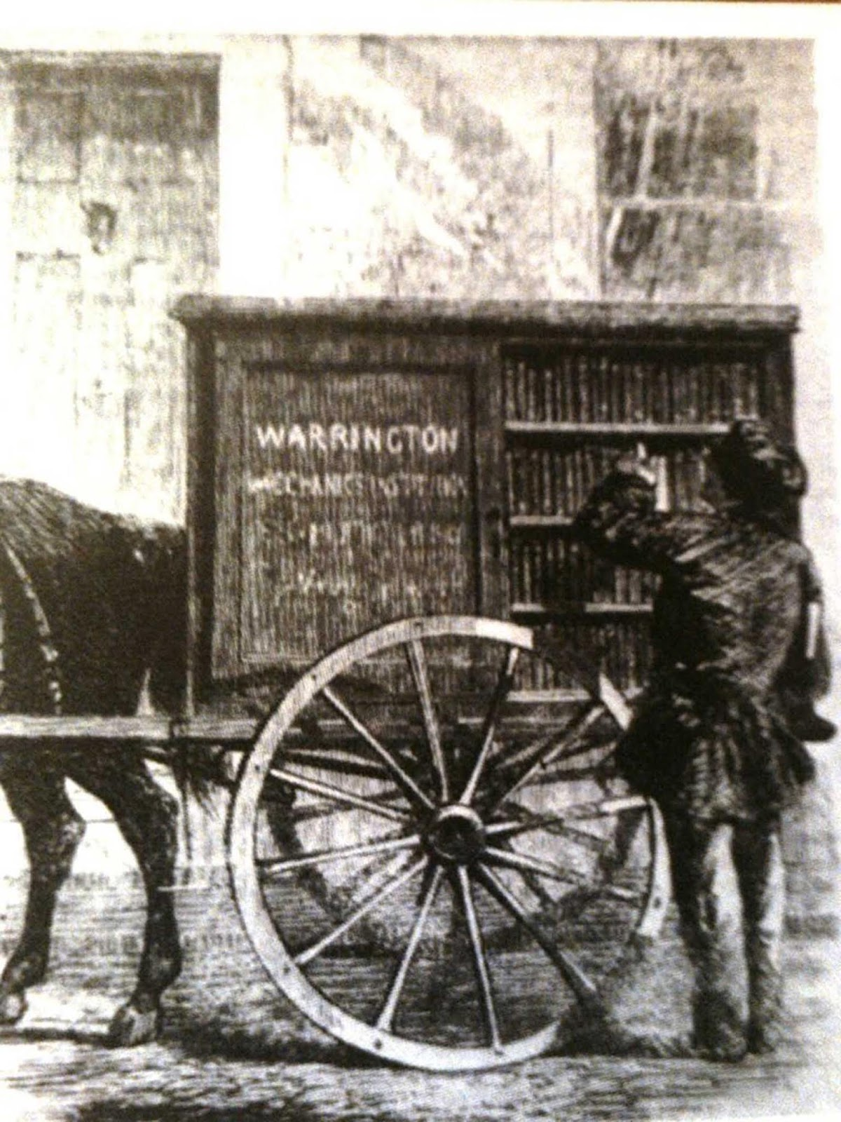 One of the earliest mobile libraries, the Warrington Mechanics' Institution Perambulating Library, from The Illustrated London News, 1860.