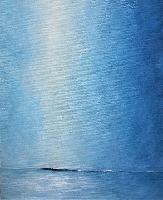 calm waters Into the Blue ocean acrylic painting minimalist semi abstract coastal style beach decor by Lisa Le Quelenec