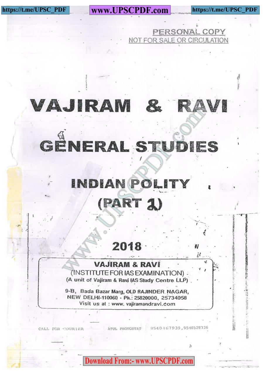 Vajiram & Ravi Indian Polity Printed Notes Part 2 English | Download