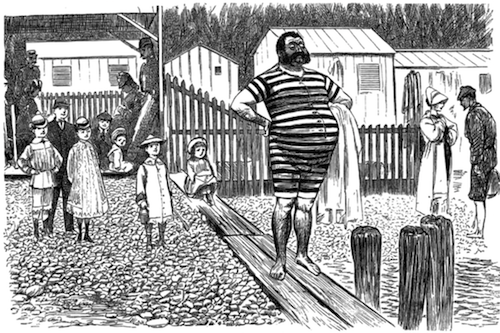 Illustration from Punch, 1 Sep 1877, of a man at the beach in a striped swimsuit, surrounded by onlookers