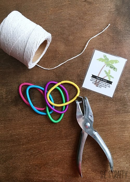 Easy and Inexpensive Girls Camp handouts, pillow treats or tuck in treats- hair tie holder