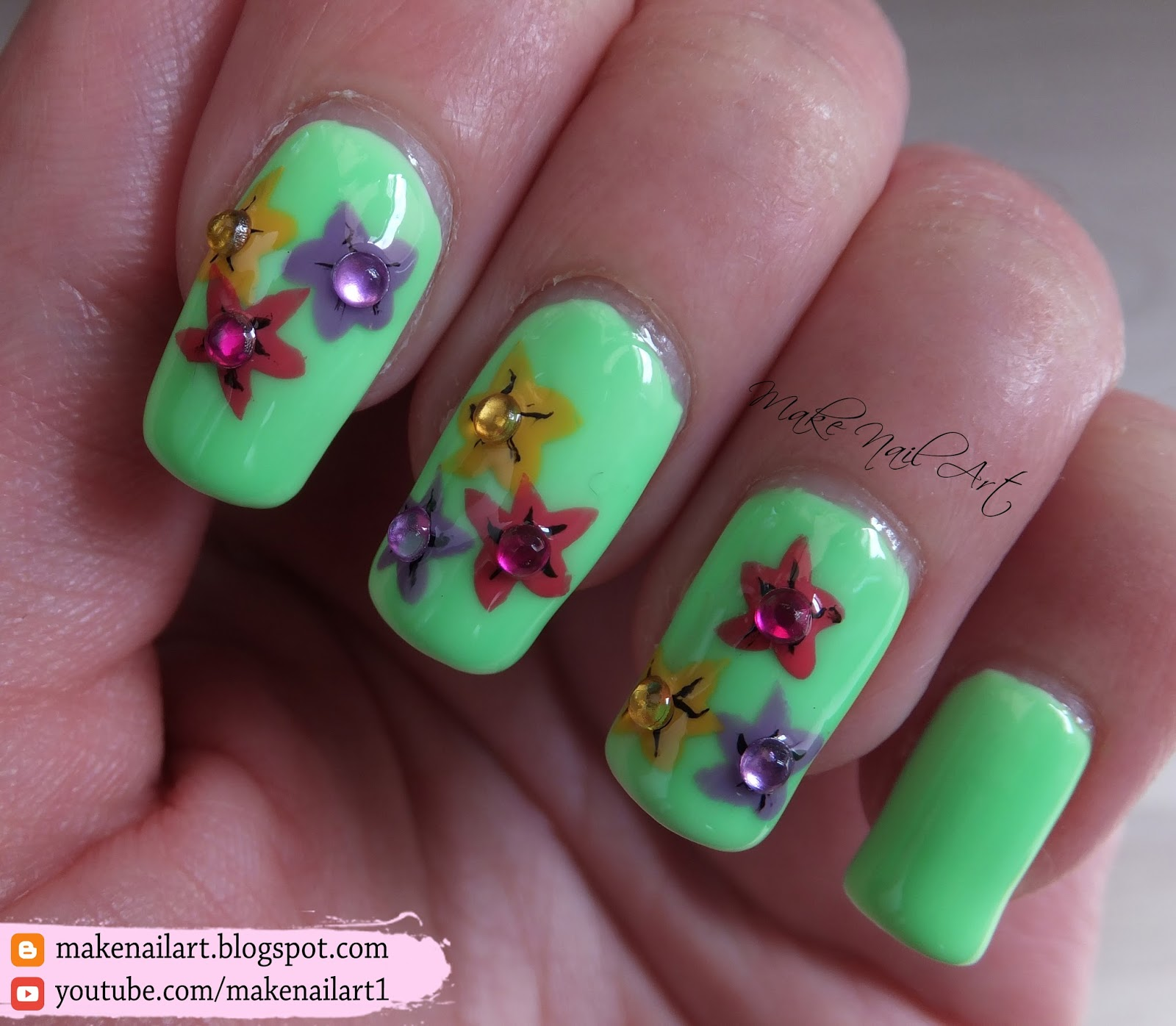 Make nail art easy spring flowers nail art design tutorial its really easy and fast way to create cute floral designs mightylinksfo